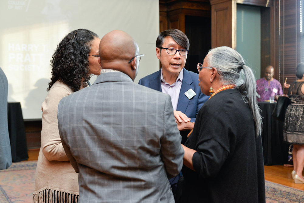 """Left to Right:  Colette Veasey-Cullors, Associate Dean for Design and Media, Former Department Chair - Photography  Clyde Johnson, Associate Dean of Identity and Inclusion  Samuel """"Sammy"""" Hoi, President  Dr. Leslie King-Hammond, Graduate Dean Emeritus, Former Director of Center For Race and Culture"""