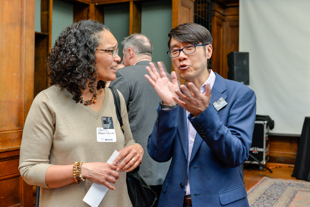 """Left to Right:  Colette Veasey-Cullors, Associate Dean for Design and Media, Former Department Chair - Photography  Samuel """"Sammy"""" Hoi, President"""