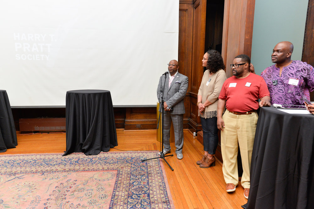 Left to Right:  Clyde Johnson, Associate Dean of Identity and Inclusion  Colette Veasey-Cullors, Associate Dean for Design and Media, Former Department Chair - Photography  Sam Christian Holmes, Alumni