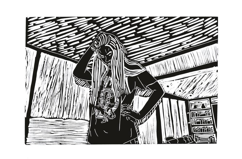 "Head Scratch , 2014 – linoleum, 12"" x 18"""