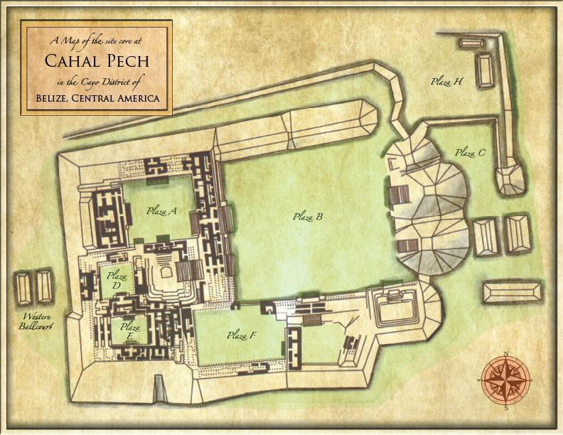 Fig. 1 — Cahal Pech site map