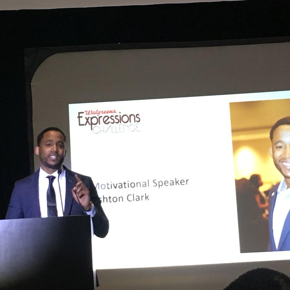 Ashton Clark, MBA, storyteller, motivational speaker, information technology leader, intrapreneur and nationally award-winning entrepreneur at Walgreens Expressions Challenge Keynote