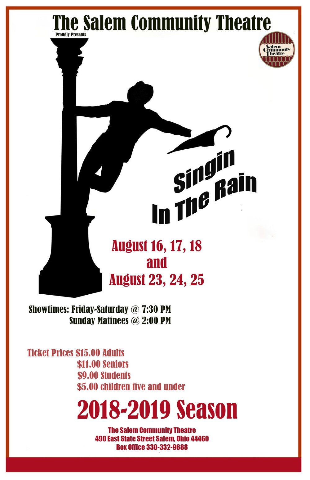 Auditions - Singin' In The RainAuditions for Singin' in The Rain directed by Justin Steele will be held Monday June 3rd and Tuesday June 4th at 6 pm. Auditioners must come prepared with a 32 bar section of a song in the style of the show, songs from the show are allowed as well. There will be no accompanist provided those interested in auditioning must provide a cd with our voices, a cell phone without voices, or sing acapella. There will be a short dance call so please dress appropriately. Show dates are August 16th and closes August 25th. Casting from ages 12 and up. During tech week every cast member is required to be there these are MANDATORY rehearsals beginning August 11th until opening night. If you have any questions about auditions please contact us at 330-332-9688 or by email or on Facebook!