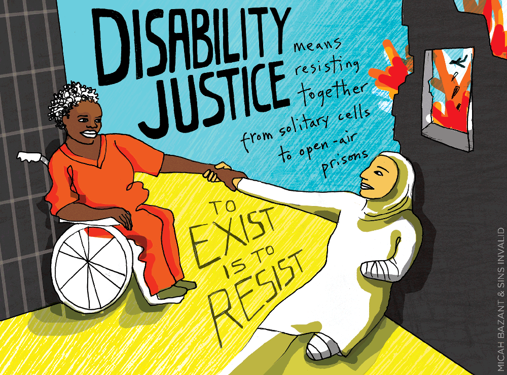 """Painting of a dark-skinned disabled woman on left in a jail cell clasping hands with olive-skinned disabled woman on right in a warzone. Woman on the left uses a wheelchair and is wearing orange prison clothes with bars in the background.  Woman on the right is wearing a hijab and her left arm & left leg are newly amputated & bandaged. Image on text reads: """"Disability Justice means resisting together from solitary cells to open-air prisons."""" Art by Micah Bazant & Sins Invalid."""