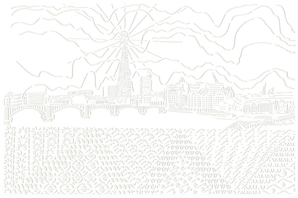 The View from the Thames from the North Side of Millenium Bridge, papercut, 59.4 x 84.1cm