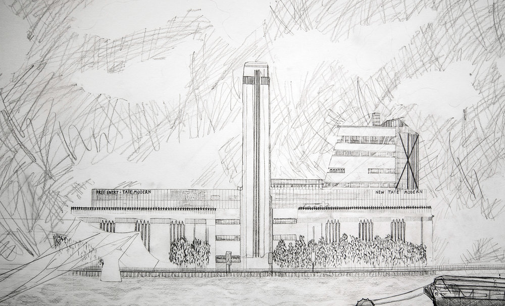 Tate Modern (detail), pencil drawing, 59.4 x 84.1cm