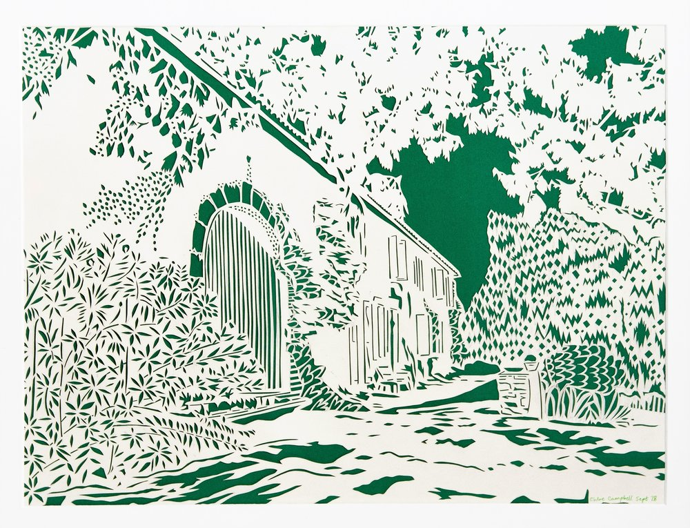 Chateau Charlot in Bordeaux, green and white papercut, 42.0 x 59.4cm