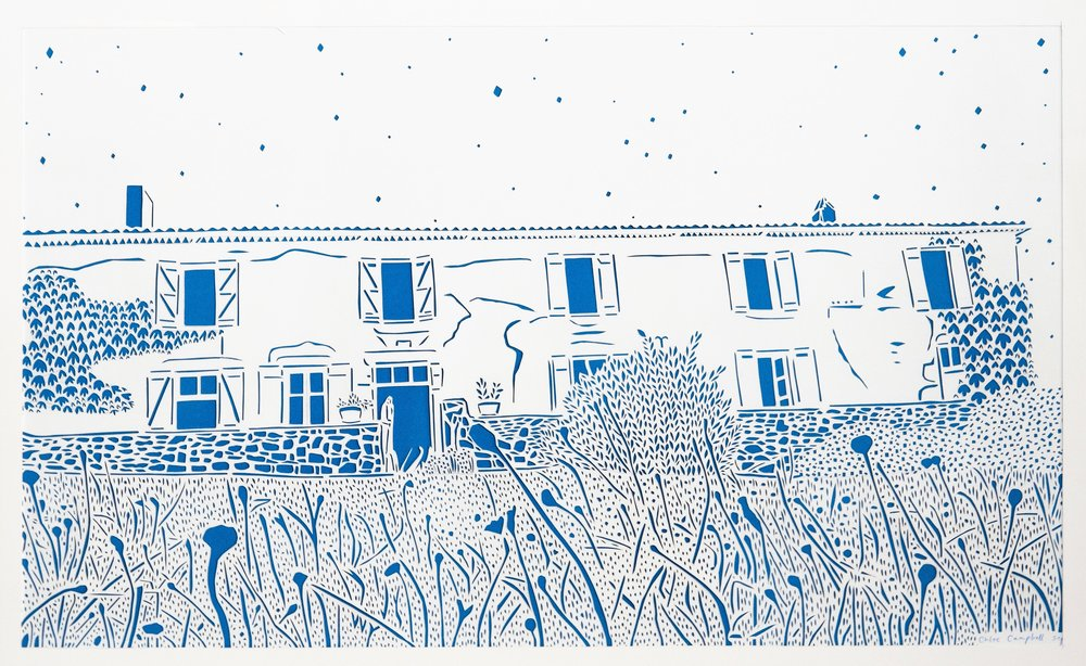 Chateau Charlot in Bordeaux at Night, blue and white papercut, 42.0 x 59.4cm