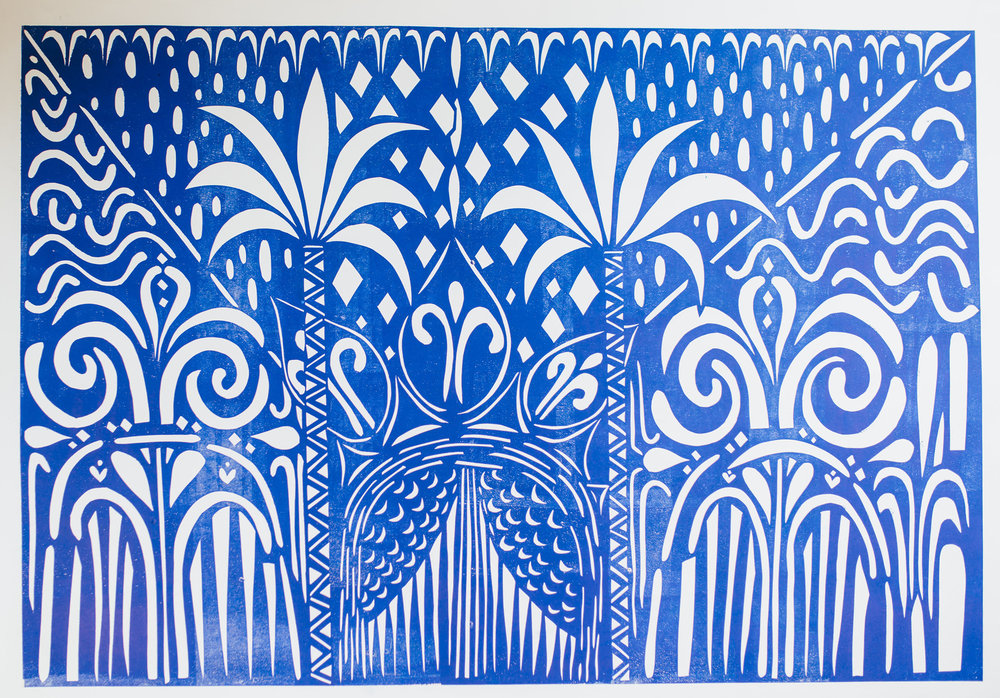 Archway to Heaven II, blue embossed print, 84.1 x 118.9cm