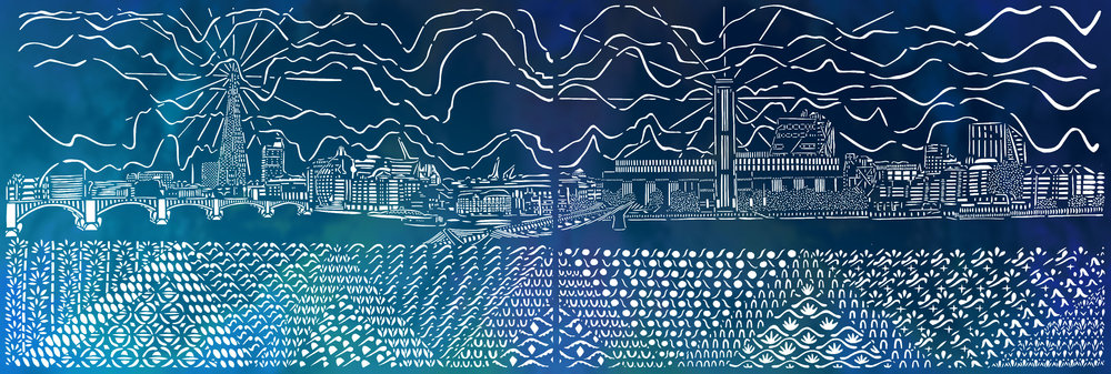 The View from the Thames from the North Side of Millenium Bridge, blue and white papercut, 59.4 x 168.2cm