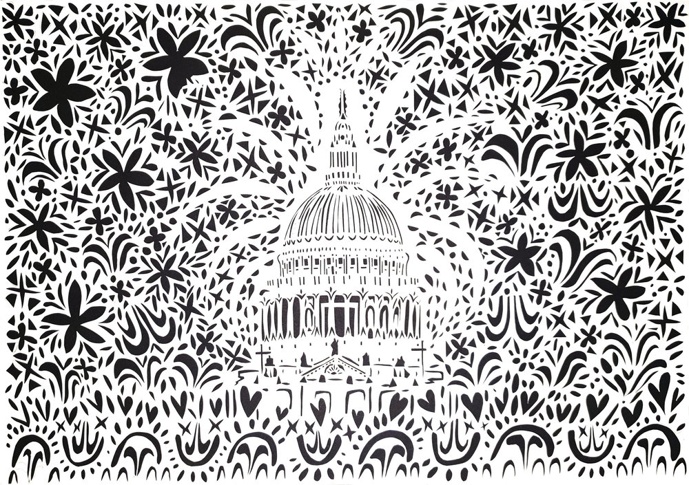 St Paul's Cathedral, papercut, 42.0 x 59.4cm