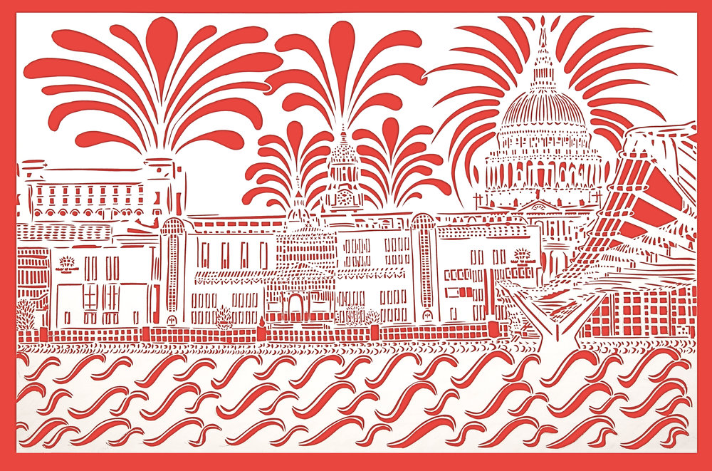 Red Vista, City of London, red and white card, 42.0 x 59.4cm