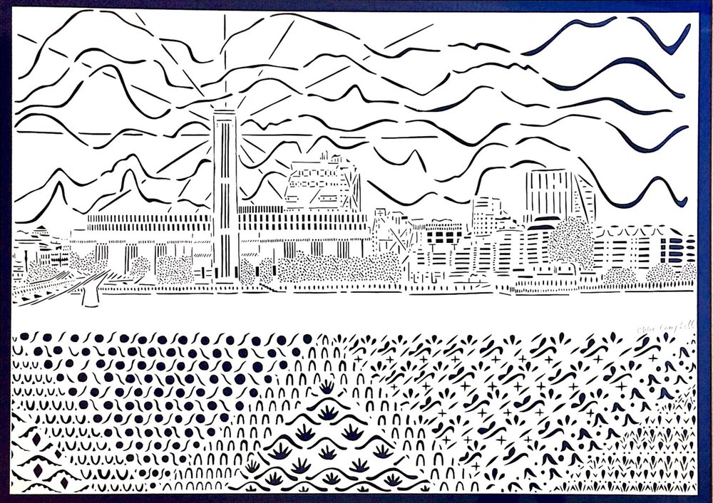 The View from the North Side of Millenium Bridge, papercut, 59.4 x 84.1cm