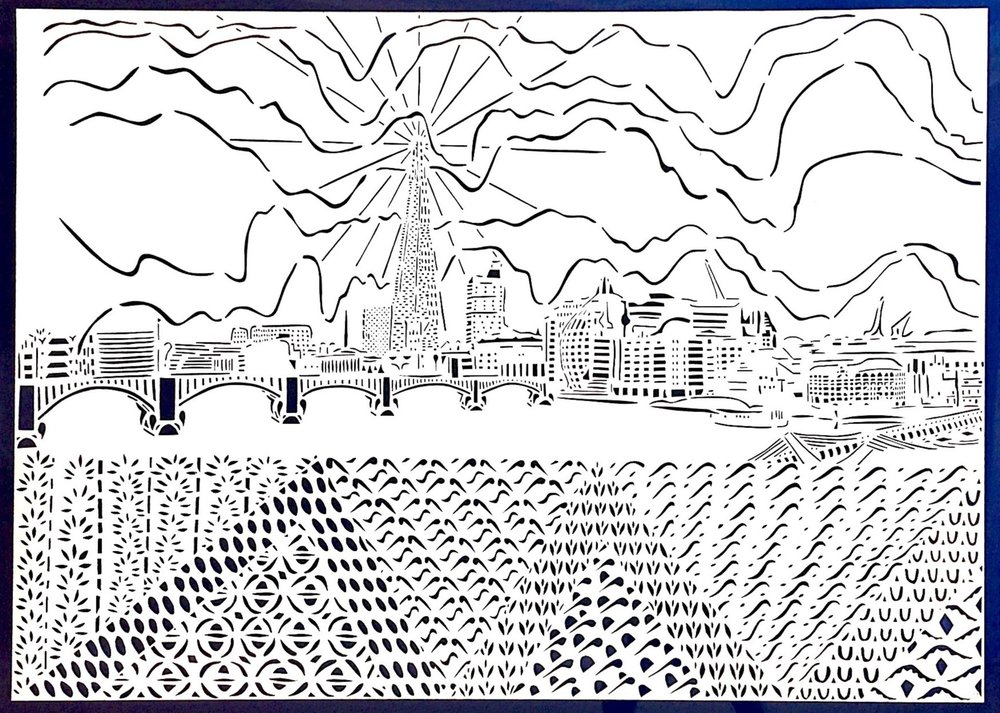 The View of the Thames from the North Side of Millenium Bridge, papercut, 59.4 x 84.1cm