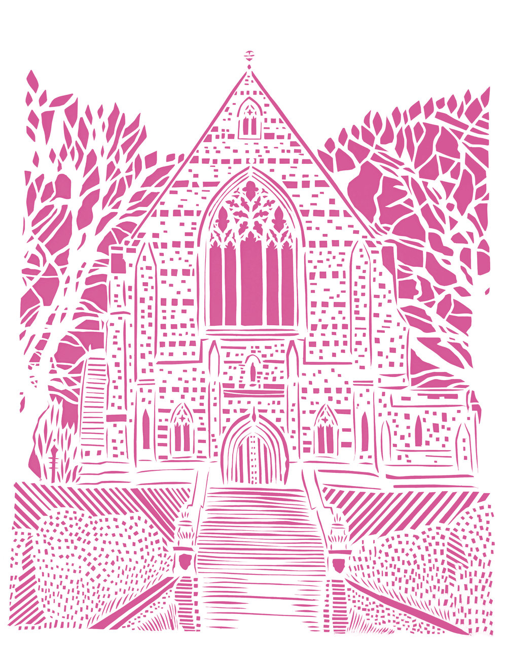 Marlborough College Chapel, pink and white papercut, 21.0 x 29.7cm