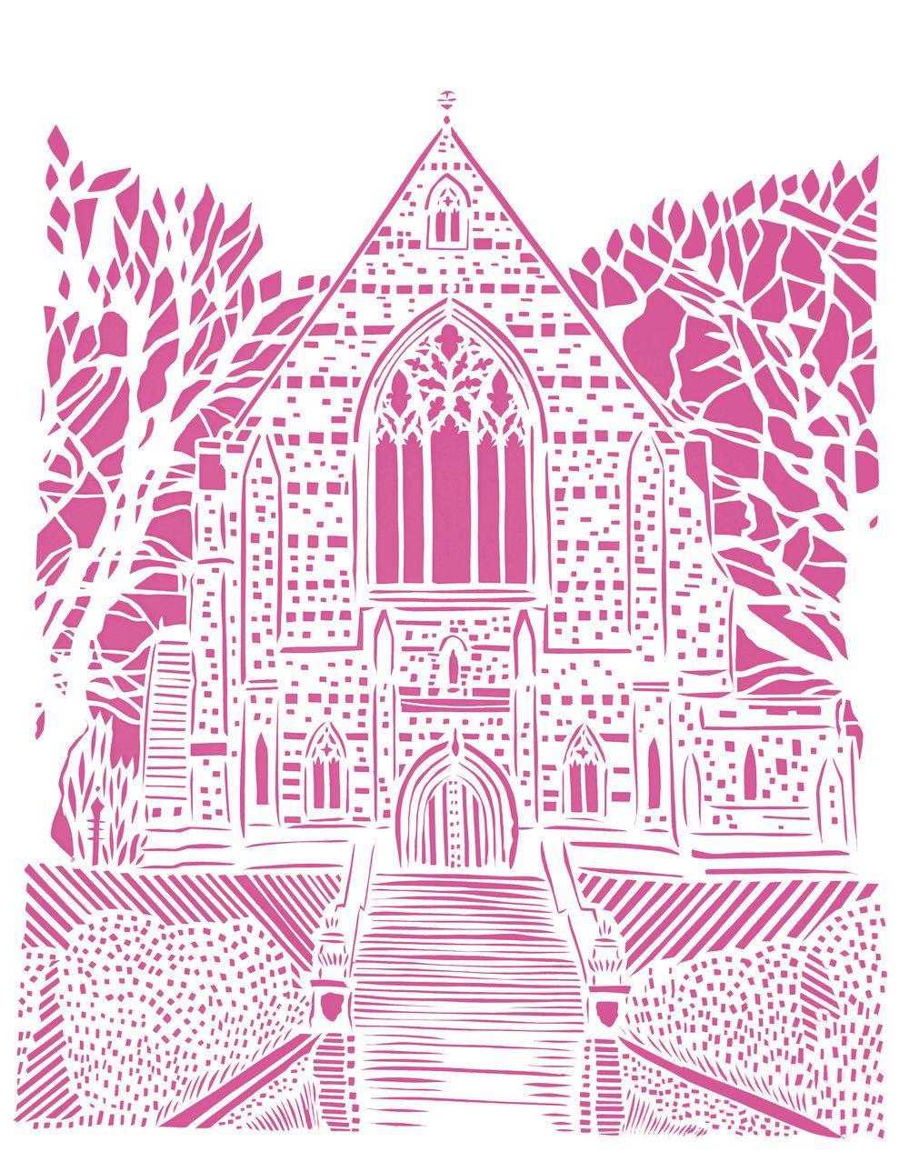 Marlborough College Chapel, pink and white papercut, 21.0 x 29.7cm