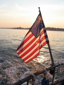 american flag on boat