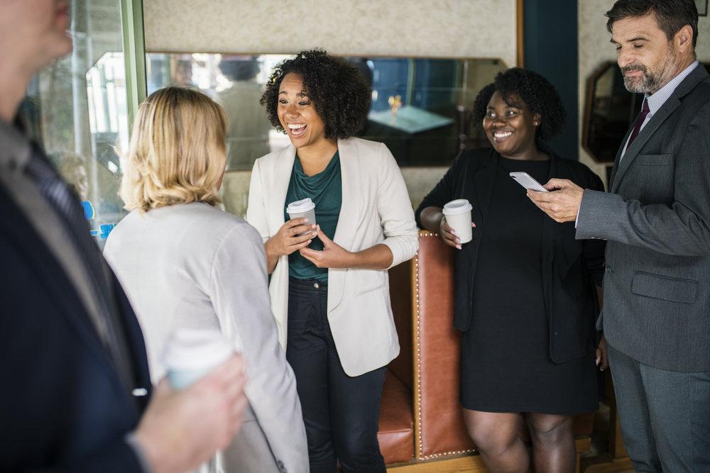 Businesswomen discussing and having fun