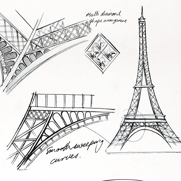 The Eiffel Tower started as a sketch!  What is on your sketch pad today?  Are you thinking about how to bring that to life? #inktober