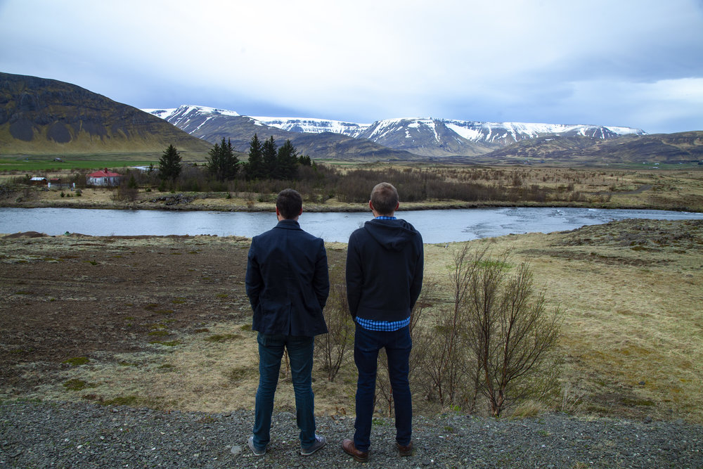 Walls (left) and Downs (right) soak in the Icelandic countryside after a long week of leading the Finding Hygge crew through principal photography in Denmark and the UK.