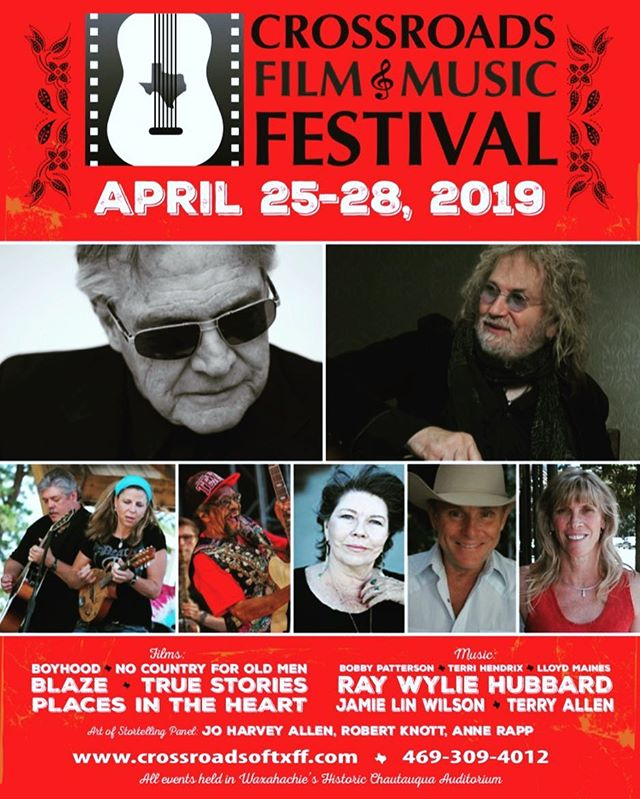 "Just one week until go time! Tickets are still available for all films and concerts at crossroadsoftxff.com. Also make plans to join us Friday at 2pm for the ""Art of Storytelling"" panel with Jo Harvey Allen, Robert Knott, and Anne Rapp (no ticket needed for panel). Friday night is a don't-miss with Ray Wylie Hubbard, we close it out Saturday night with the legendary Terry Allen. Come see us!"