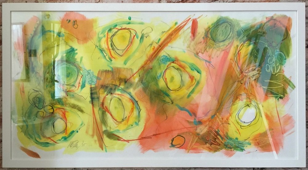 "Lake Rocks I  24"" x 48"" Framed Acrylic and mixed media on Paper"
