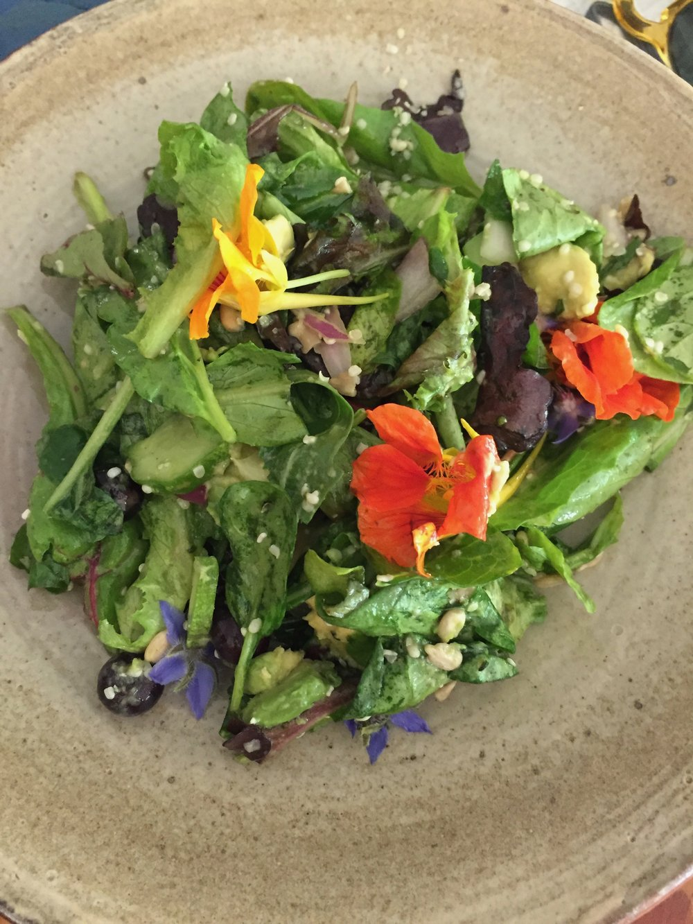 Salad forged out of the local gardens with several seasonal flowers