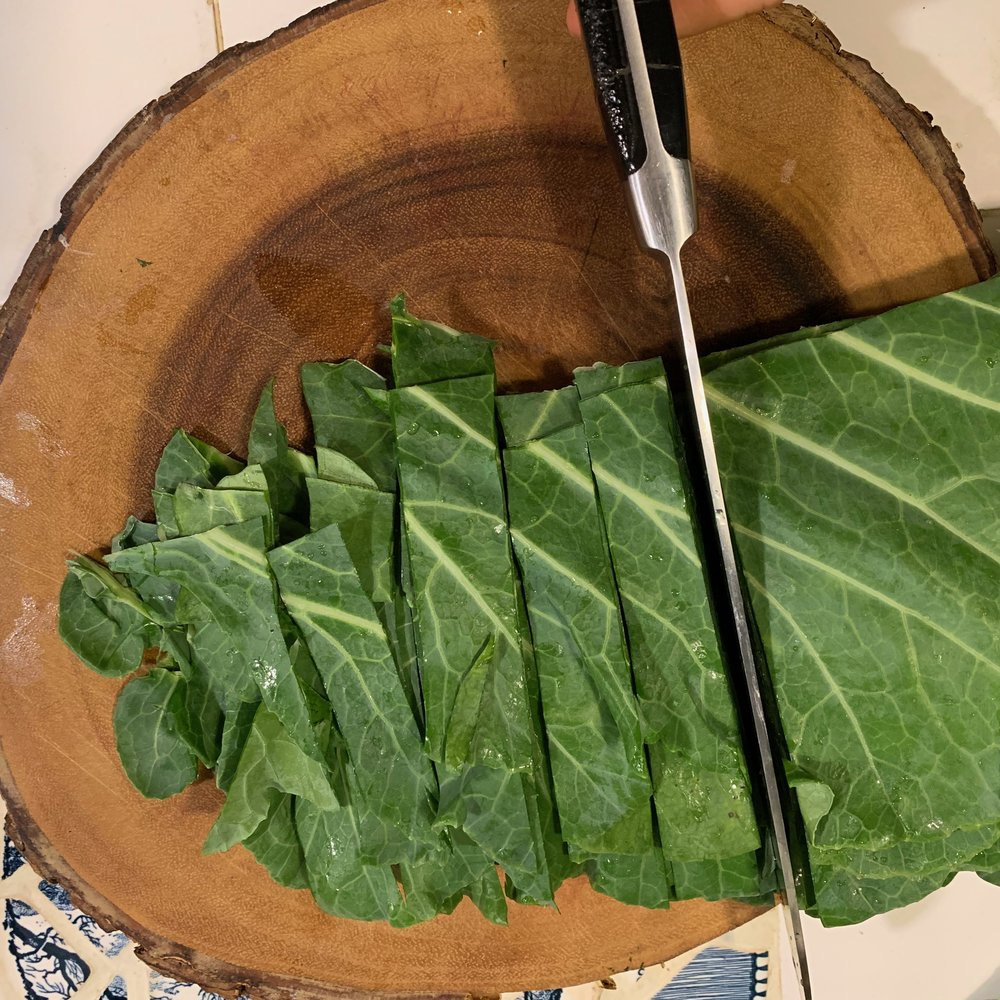 slicing and dicing the collards