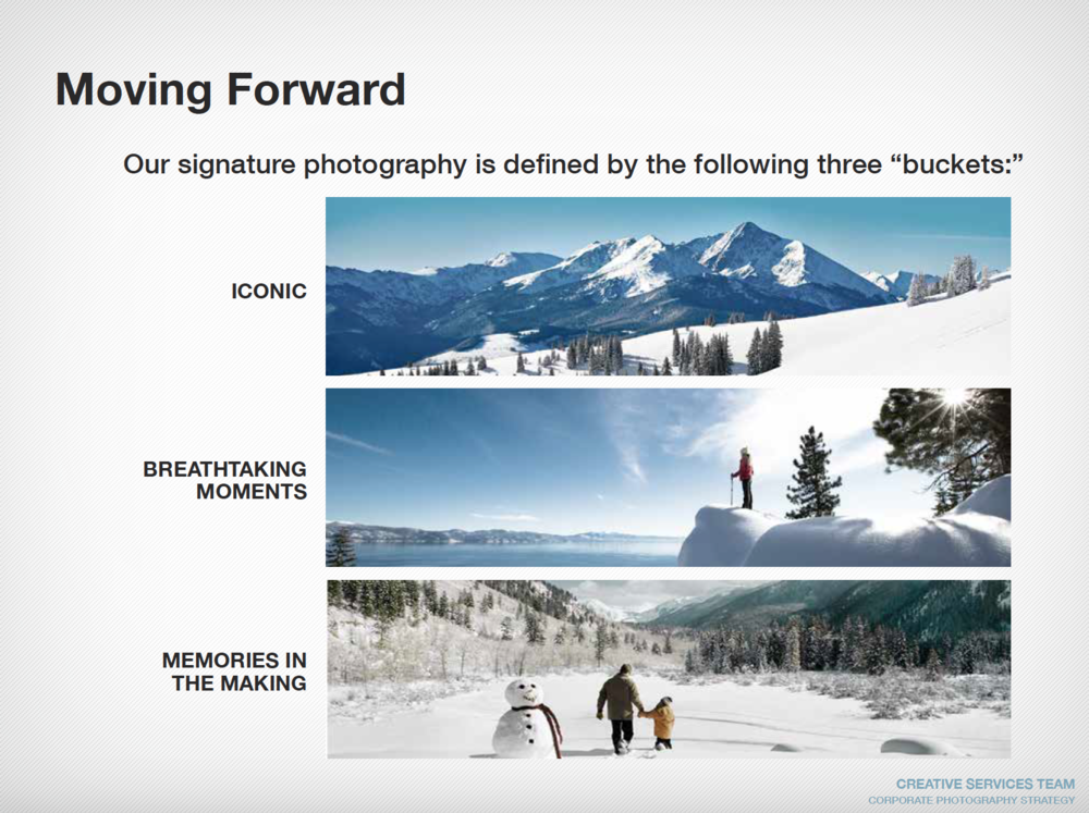 Defined how signature photography is directionally shot at Vail Resorts, across all mountains. - Full guidelines available upon request.
