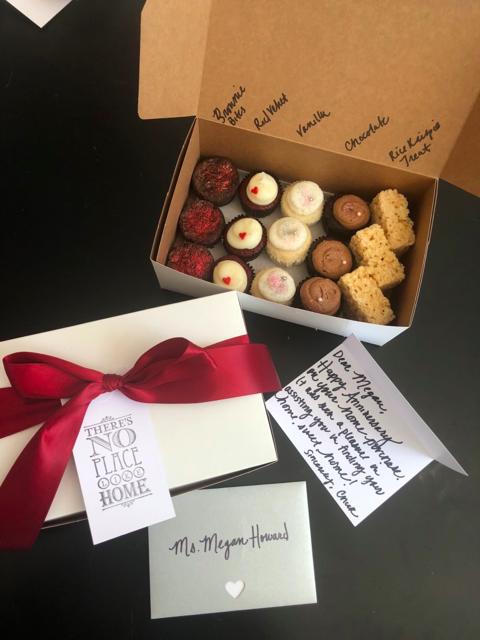 Cupcake anniversary delivery program sent fresh cupcakes and a personal note to clients on their home sale anniversaries.