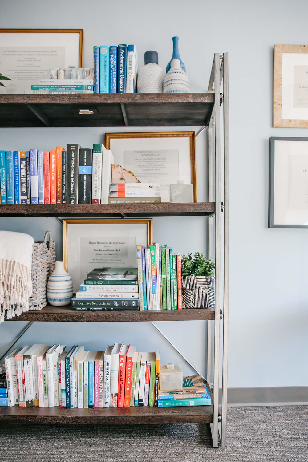 bookcase in therapist office