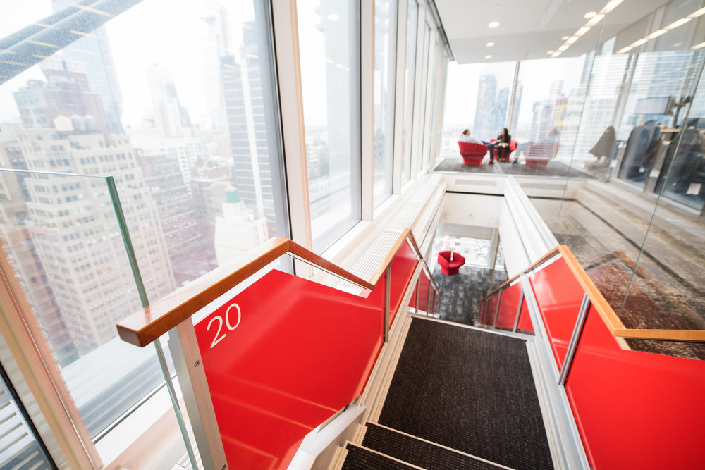 View from the top of the stairs at the Liquidnet fintech company headquarters in NYC