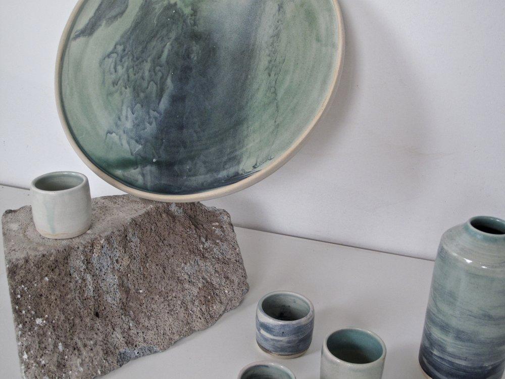 Marbled Sake Set + Platter