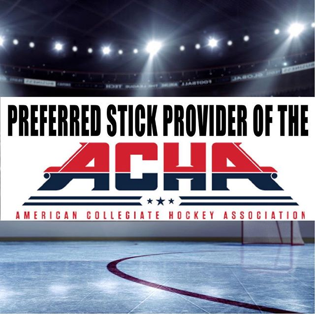 """AMERICAN COLLEGIATE HOCKEY ASSOCIATION!  Check our website to learn more about our latest partnership! To say we are """"humbled"""" is appropriate but an understatement!! #acha #achahockey #collegehockey #hockeystick #partnership"""