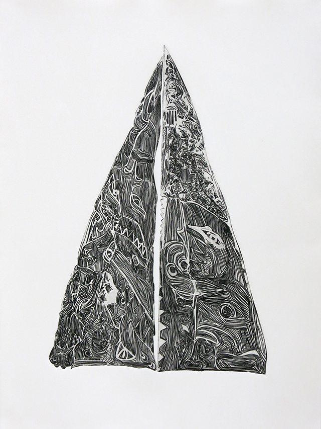 Dinah Shapiro, Shark Totem, 2016, Drypoint etching, 22.25″ x 30″