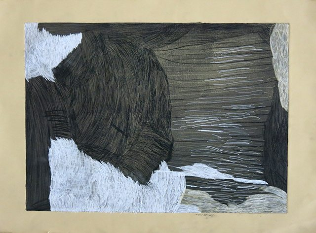 Lauren Dare, Untitled, 2016, Drypoint etching with pen, 22″ x 30″