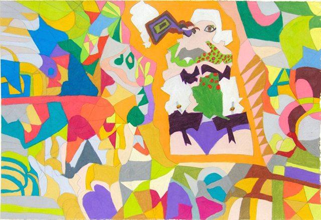 Jordan King, Freaky Woman, 2016, Prismacolor on paper, 15x22