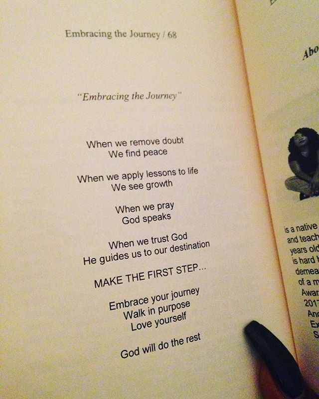 """""""Embracing The Journey"""" as written in my book. I've learned to trust God more but also hold up my end of the deal. It's all about making that first step and watch God glide you along the path! #EmbracingTheJourney #QuietStormPoetry #HappySunday"""