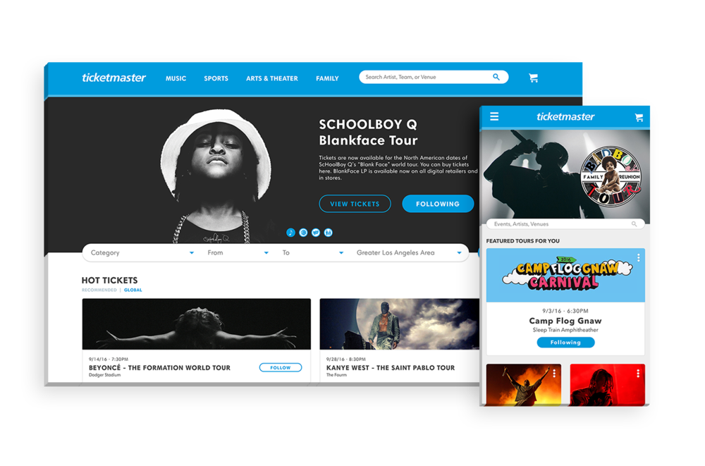 "Ticketmaster - A responsive web redesign for Ticketmaster that adopts external APIs and Ticketmaster's internal ""Discovery"" API to improve the experience for fans and ticket buyers while understanding their pain points, behaviors, and usage."