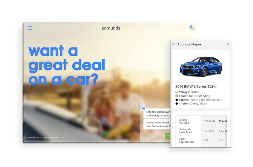 Edmunds - A redesign of Edmund's web application, integrating a chatbot to replicate the dealership experience, from the comfort of your device.