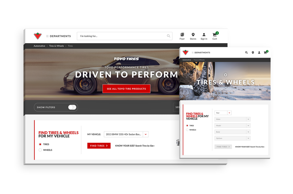 Canadian Tire - Responsive redesign for Canadian Tire's e-commerce website with the integration of new features to help the users browse for the right products and providing an enhanced online shopping experience.