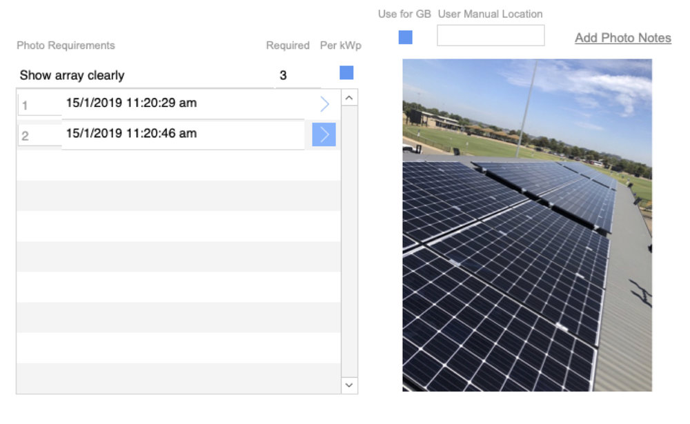 For each key checklist point, the installer uploads a photo as evidence. Our system will than use the date and time stamp to track the works.