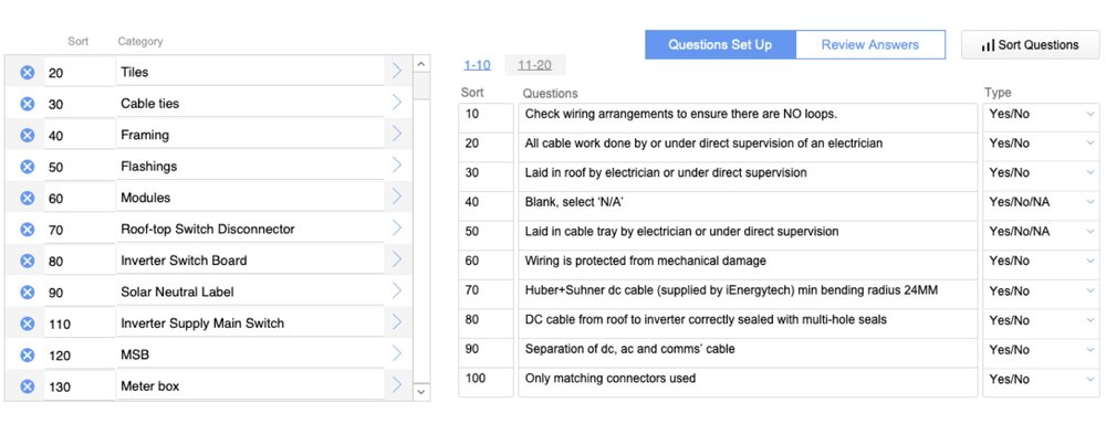 Image shows an example of checklist items that the installer responds to relating to the category of 'Cable work'; such checklists are required regardless of size of system. Furthermore, at each critical stage of the installation, the installer uploads progress photos responding to these questions.