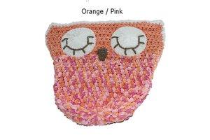 Sleepy Owl Car Seat Cosy Crochet Orange Pink