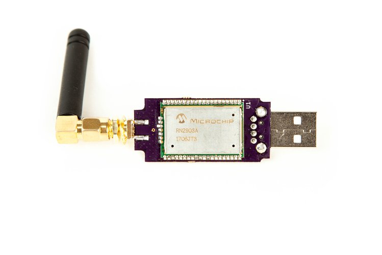 At the heart of LoStik is the popular RN2903/RN2483 module by Microchip