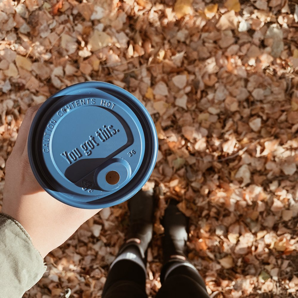 Real fall leaves and inspiration from a coffee cup