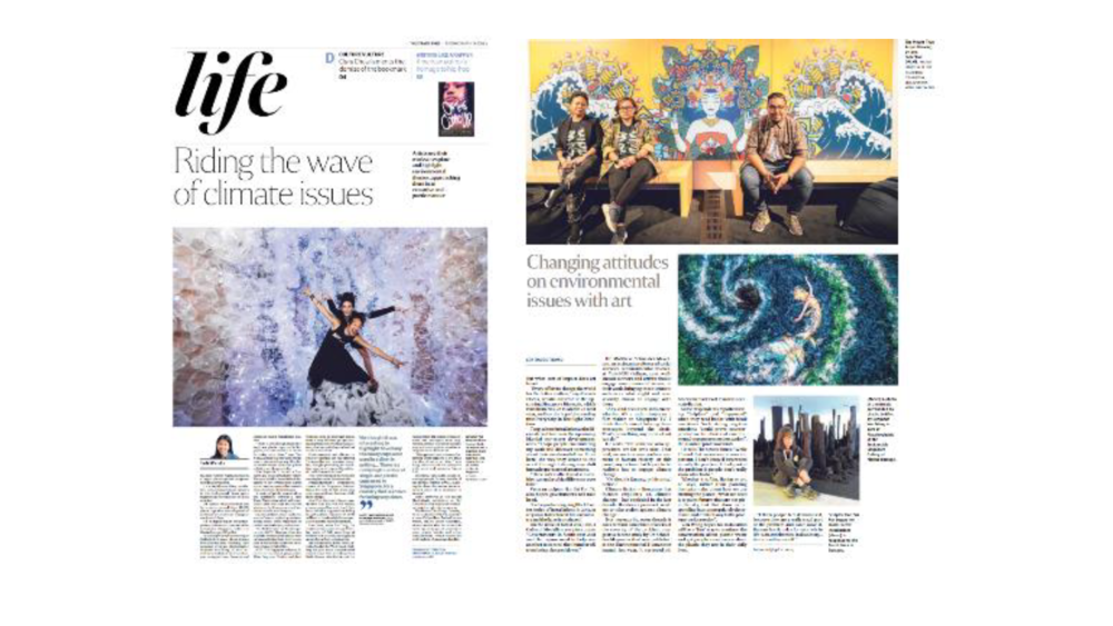 19 Mar - The Straits Times Life section feature on climate issues, featuring MeshMinds' artist collective DPLMT on their AR artwork on the growing trash issue. - Riding the wave of climate issuesIn a dark room in Marina Barrage is a bright, claustrophobic sculpture visitors can walk into.It is a slightly unsettling installation. Low, resonant music pulsates in the background. Some parts might remind viewers of the tentacles of a sea monster.But scariest of all is the fact that the sculpture is made from 18,000 plastic cups that were disposed at 23 hawker centres in Singapore over just 11/2days.It is on display as part of Plastikophobia, a showcase that runs at the Sustainable Singapore Gallery at Marina Barrage till April 18.