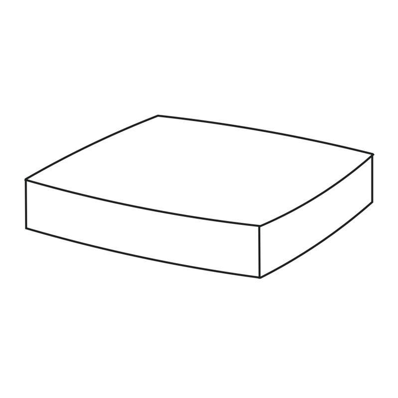 "Hocker   Fertigmaße ca. 50 x 50 x 9 cm  Stehsaum: 2,5 cm  mit Reißverschluss  Füllung (herausnehmbar):  Schaum Rg ""3048""  43x43x3 cm  320g Vlies, Breite: 54 cm  Lutrasilbezug"