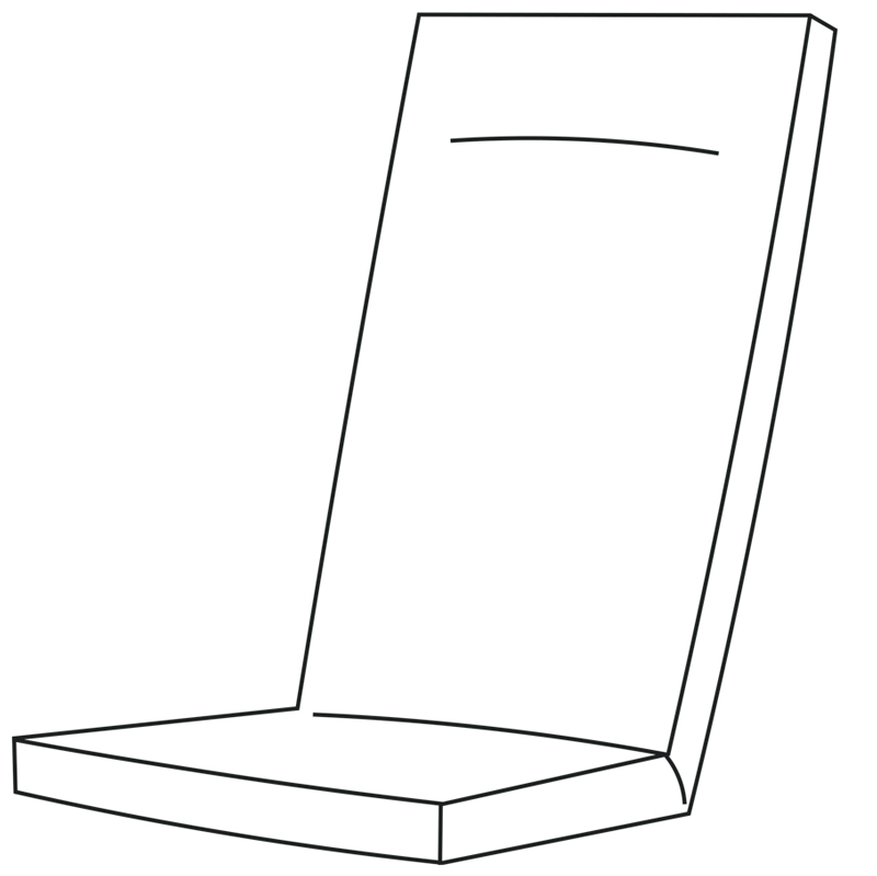 "Hochlehner   Fertigmaße ca. 120 x 50 x 9 cm  Stehsaum: 2,5 cm  mit Reißverschluss  Füllung (herausnehmbar):  Schaum Rg ""3048""  Sitz: 43x43x3,5 cm  Rücken: 43x43x3 cm  Kopf: 43x20x3 cm  320g Vlies, Breite: 54 cm  Lutrasilbezug"