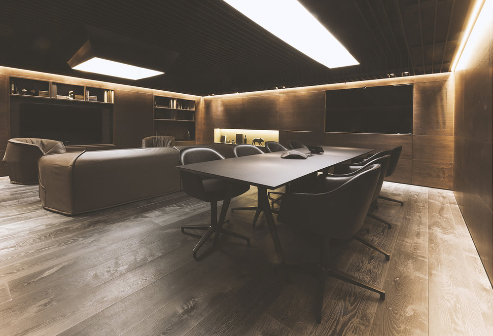Shaken, not stirred - The Jackson meeting room seems to have been designed for a James Bond movie (from the dark, mahogany palette to the hidden door behind a bookcase), and it certainly puts some flair to our customer meetings.